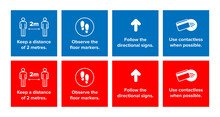 Coronavirus Social Distancing Illustration Infographic Icons Set In Red And Blue. For Use During Covid-19 Epidemic Pandemic Quarantine. Keep 2 Metre Distance. Can Be Used For Sign, Sticker, Decal Etc