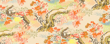 Maple Japanese Chinese Design Sketch Ink Paint Style Seamless Pattern