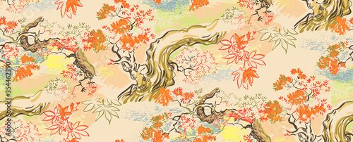 Fototapeta maple japanese chinese design sketch ink paint style seamless pattern obraz