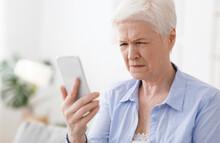 Myopia Concept. Elderly Woman ...