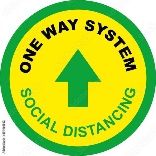 Fotografía One Way System Shop Floor Sign for Coronavirus Covid 19 Social Distancing Quaran