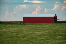 Single Red Farm Barn In The Co...