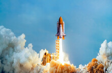 "Spaceship Takes Off Into The Sky. Rocket Starts Into Space. Concept ""Elements Furnished By NASA"""