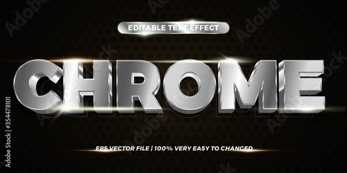 Fotografija Text effect in 3d Chrome words, font styles mockup theme editable gradient metal