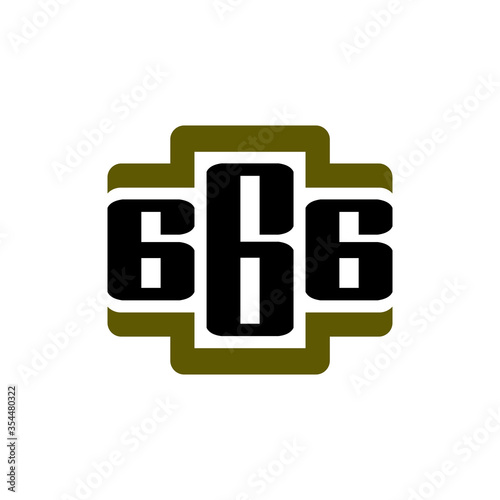Платно logo number 666 in military style