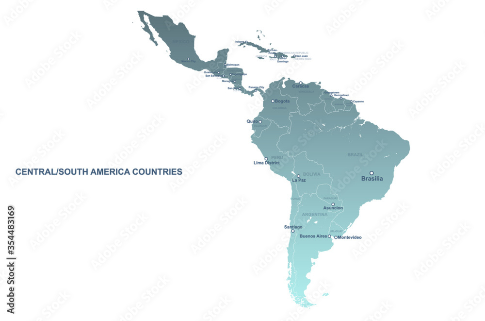 Fototapeta south american countries map. vector map of latin america. central, south america map.
