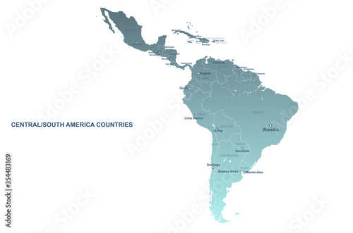 Fototapeta south american countries map