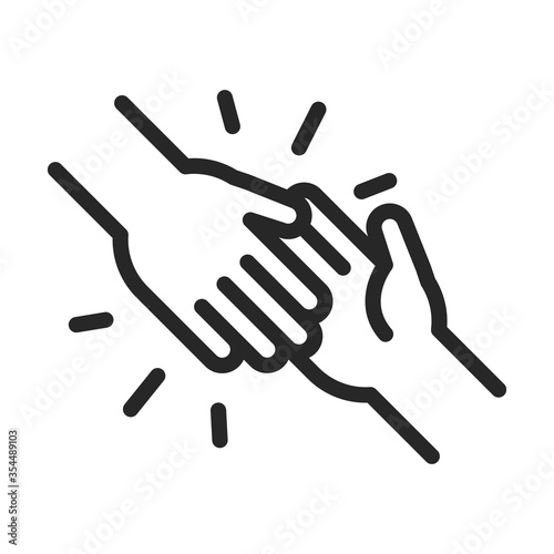Photo donation charity volunteer help social handshake assistance line style icon