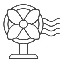 Electric Fan Thin Line Icon, H...