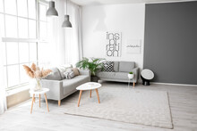 Stylish Interior Of Living Room With Carpet And Sofas