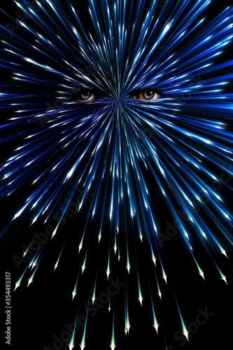 Obraz Vertical illustration of a pair of eyes with rays of light - concept: awakening - fototapety do salonu