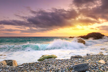 A Beautiful Scenery Of Wave Sp...