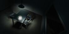 Dramatic Lit Scene Of A Police Interrogation Room / 3D Rendering, Illustration