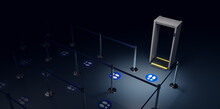 3D Rendering Of Footstep Stamps On An Airport Queue Representing Social Distancing