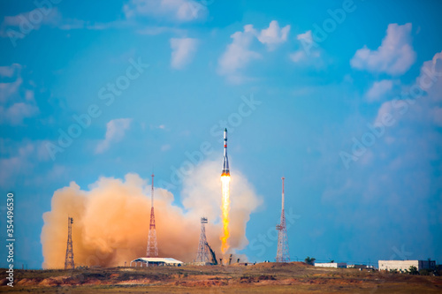 Photo Take-off of a real launch vehicle from a spaceport