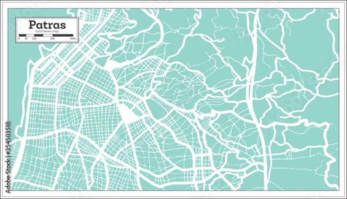 Patras Greece City Map in Retro Style. Outline Map. Wallpaper Mural