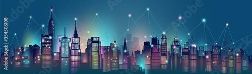 Smart city and wireless communication network technology in downtown skyscraper. #354506108