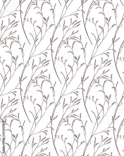 twigs vector seamless pattern, botavical background Obraz na płótnie
