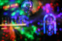 Blur Background Jukebox In Bar With Colorful Bokeh