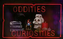 Oddities And Curiosities Neon Sign In Shop Window