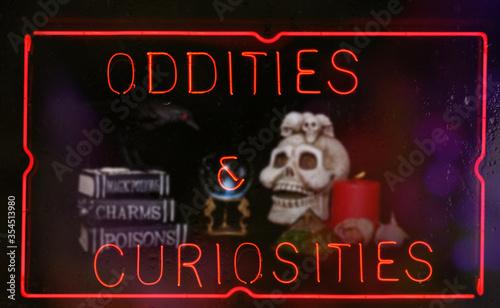 Fotografia, Obraz Oddities and Curiosities Neon Sign in Shop Window