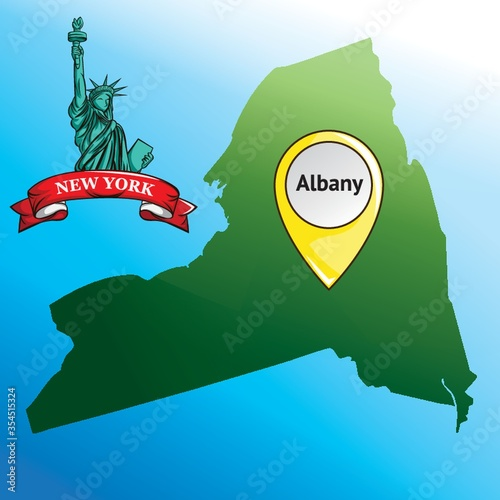 Map of new york state with statue of liberty Fototapeta