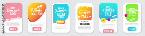 Fototapeta Modern liquid mobile sale banners set . Hot Sale banner design template , Super sale special offer web horizontal banners collection. obraz