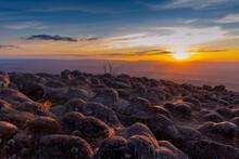 Sunset At Lan Hin Pum Under The Colorful Sky At Phu Hin Rong Kla National Park, Phitsanulok, Thailand