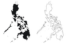 Philippines Country Map. Black...