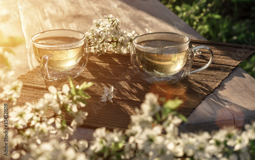 Two beautiful glass cups with green tea decorated with white cherry flowers on wooden table in spring garden in setting sun light Canvas Print