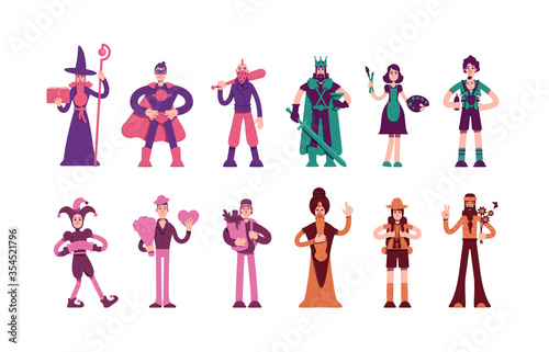 Twelve archetypes flat color vector characters set Canvas Print