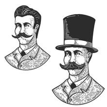 Set Of Illustration Of Gentleman In Vintage Hat In Engraving Style. Design Element For Logo, Label, Emblem, Sign, Badge. Vector Illustration