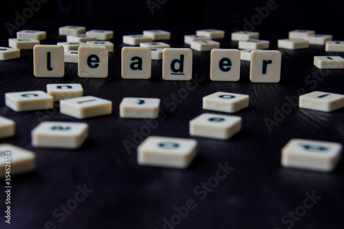 Photo Word or phrase LEADER made with  letters on the wood, great image for your design