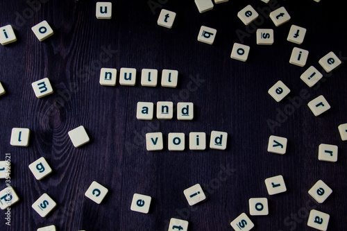 Word or phrase NULL AND VOID made with letters, great image for your design Canvas Print