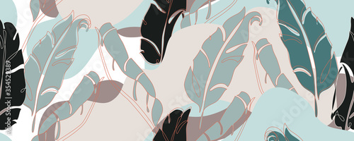 Abstract banana leaves in one line art and paper cutout styles Fotobehang