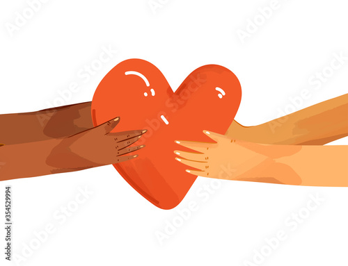 Fotografía Vector flat illustration of diverse people sharing love, support, appreciation to each other