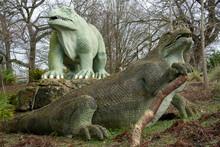 Crystal Palace Dinosaurs In Crystal Palace Park, London, England, United Kingdom
