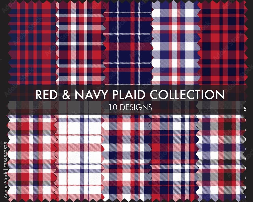Fototapeta Red Navy Plaid Tartan Checkered Seamless Pattern Collection