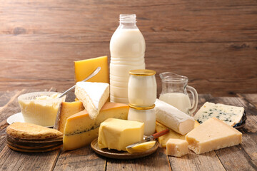 assorted of dairy product with milk, butter, cheese