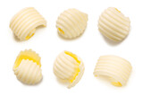 Fototapeta Kawa - Butter curls isolated, top view, clipping paths