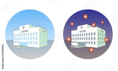Photo 医療崩壊 院内感染 病院 コロナウイルス COVID-19 ベクター素材