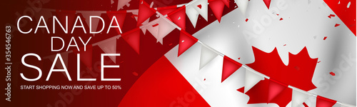 Obraz Canada day sale banner or header background. July 1 national holiday. Canadian flag with maple leaf and red bunting. Vector illustration. - fototapety do salonu