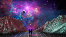 Space Background. Couple Silho...