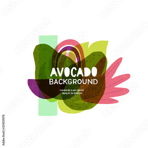 Avocado style backdrop with curvy forms and multicolored abstract elements. Yummy background with trendy geometric and flux shapes with copy space for inscription, title, headline. Healthy lifestyle