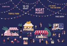 Banner Of Night Market With Pl...