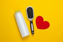 Shampoo Bottle, Hairbrush With...