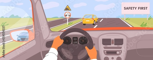 Obraz Male hands driving car moving on highway vector illustration. Driver riding on road inside of automobile. Safety first billboard, keep a distance and rise. Vehicle panel view during auto journey - fototapety do salonu