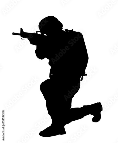 Silhouette of soldier with assault rifle on white background Canvas Print