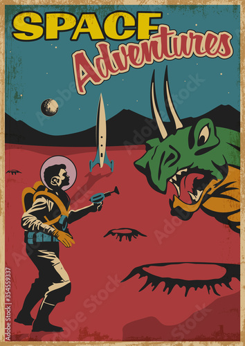 Photo Space Adventures Retro Comic Book Cover Stylization, Astronaut with Laser Gun ag