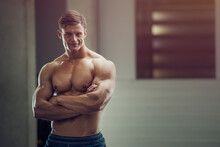 Bodybuilder Handsome Strong At...